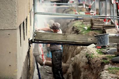 Bauarbeiten am Wohnblock Werner-Seelenbinder-Straße 6