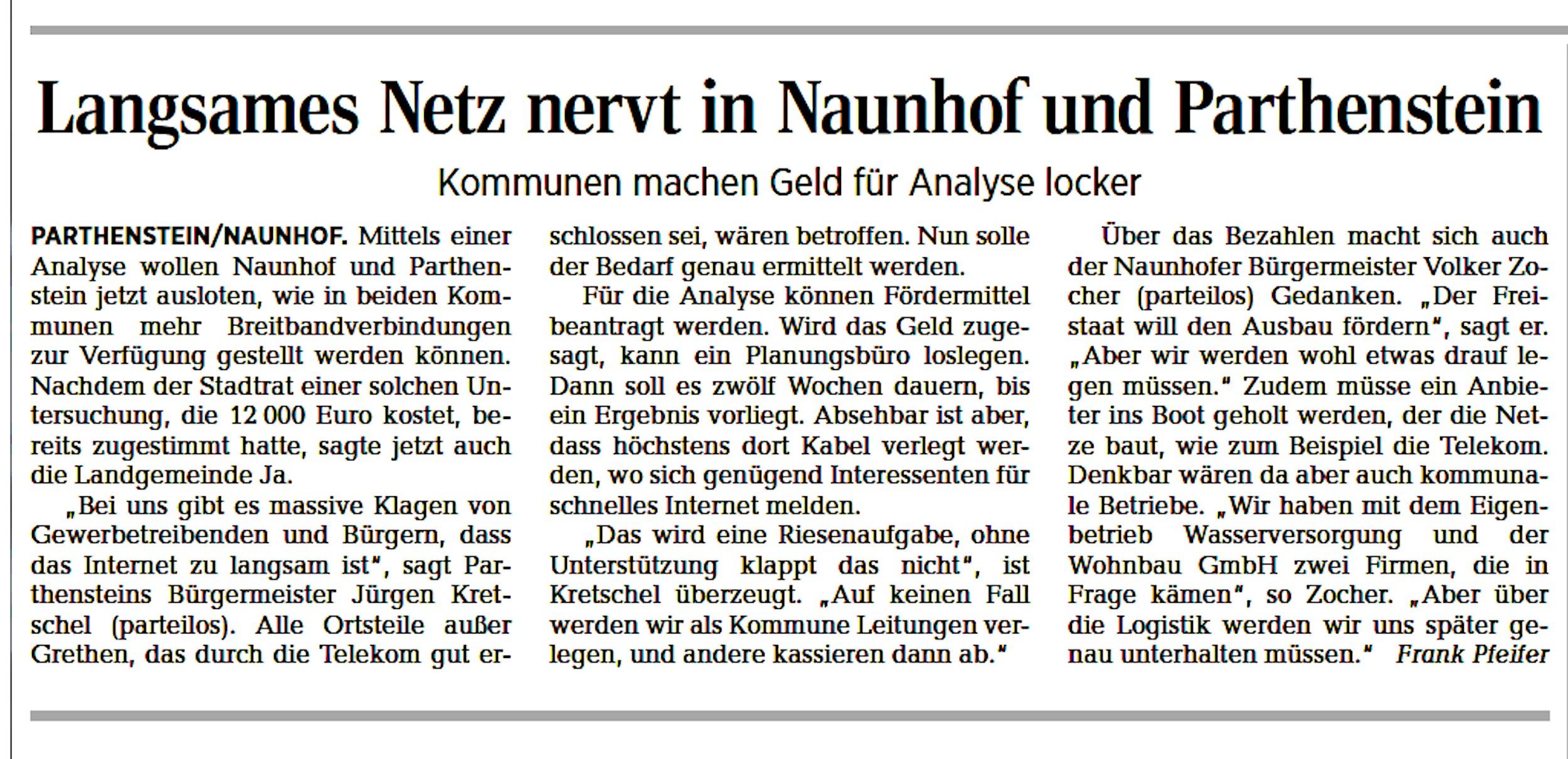 Artikel der LVZ Muldentalzeitung von Frank Pfeifer