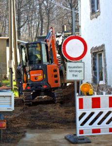 Abwasseranschluss in der Bergstraße