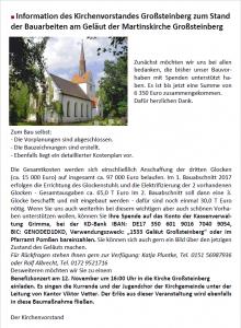 Unterstützung für die Großsteinberger Kirche